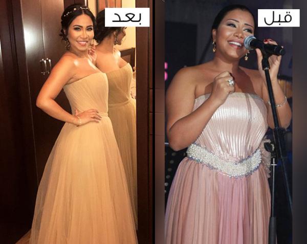 fafe960a3 مجلة زهرة السوسن - تغيّرات إطلالات النجمات قبل وبعد خسارة الوزن