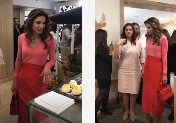 b0c3b68695c68 الملكة رانيا تمزج الأحمر بالزهري في إطلالتها، لوك ملفت من النادر أن نراها  فيه